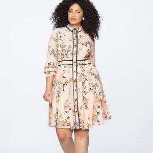 Eloquii Floral Printed Shirt Dress Ruffle Size 16